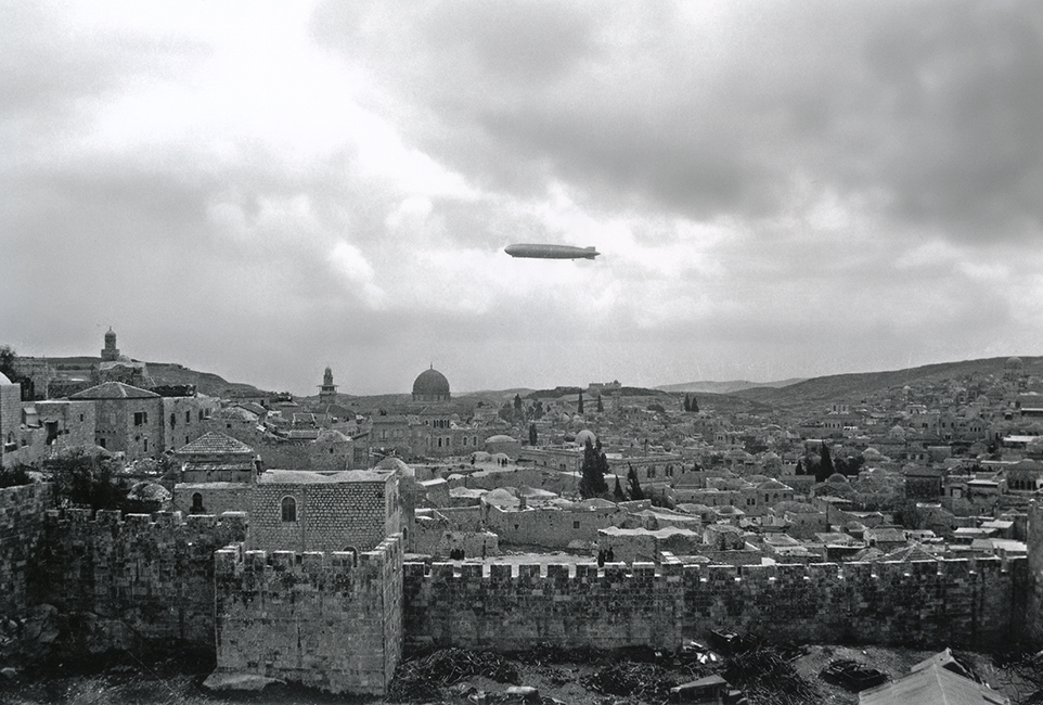 The Graf Zeppelin over the old city of Jerusalem, 1931