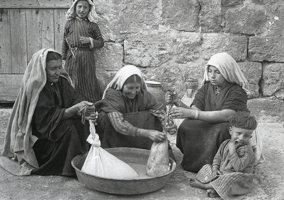 Palestinian women making yogurt, 1936
