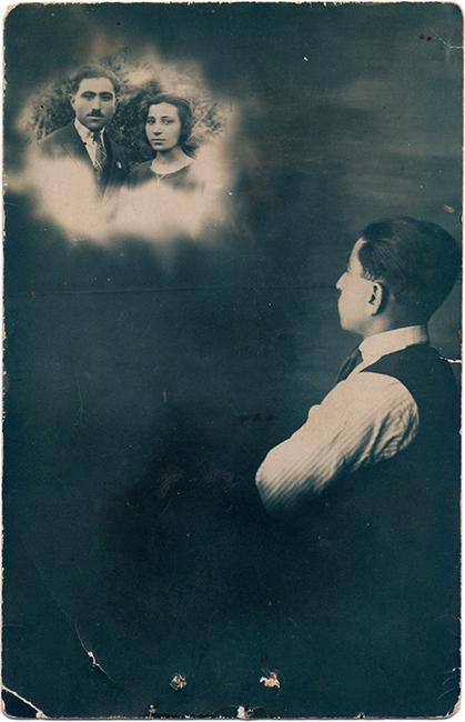 Self-portrait, Haroutiun Derhagopian and his wife.  A merger of two photographs, ca. 1925