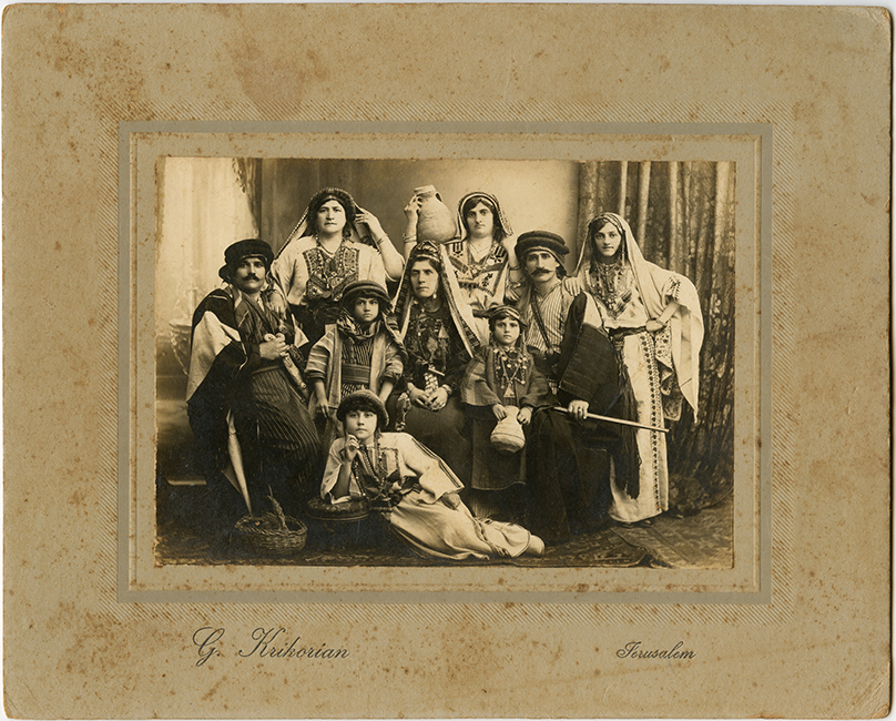 Johannes Krikorian Studio. Family portrait with native Palestinian costumes, ca. 1925 (Malikian Collection)