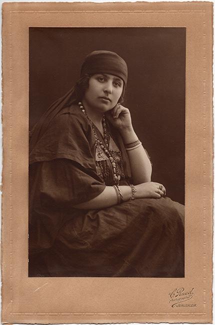 Chalil Raad Studio. Najla Nijim Krikorian dressed in native Bedouin costume, ca. 1910 (Courtesy of Alice Krikorian Abusharr)