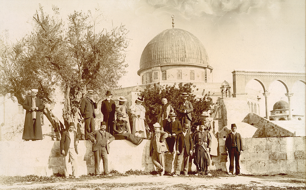Unidentified studio. Dome of the Rock. German tourists on the grounds of the mosque, February 2, 1899 (Malikian Collection)