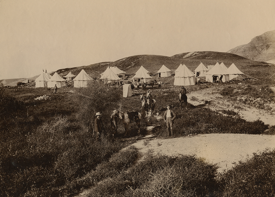 Unidentified Studio. Western tourists on camp grounds in Palestine (Malikian Collection)