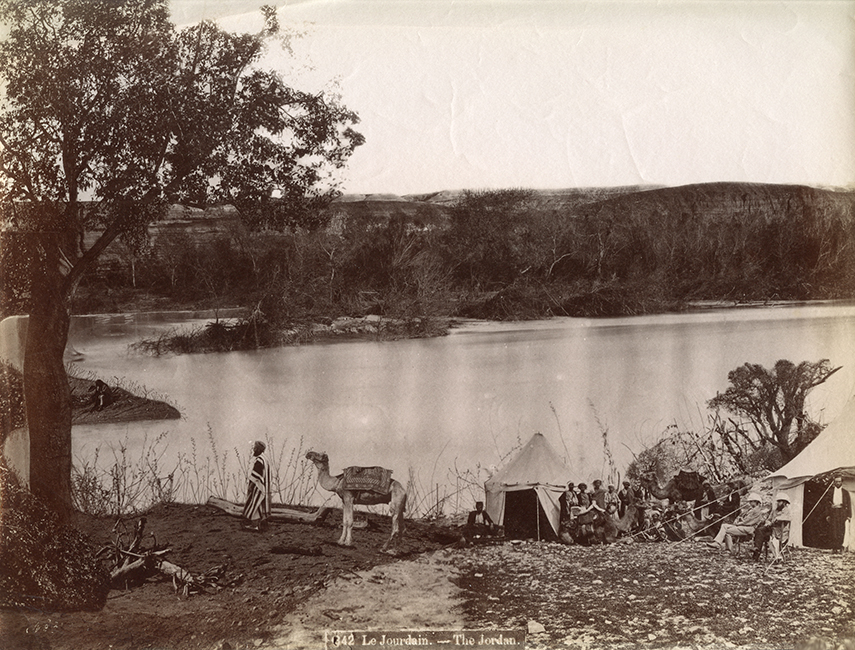Studio Bonfils. Western tourists and their guides camping along the Jordan River, ca. 1870 (Malikian Collection)