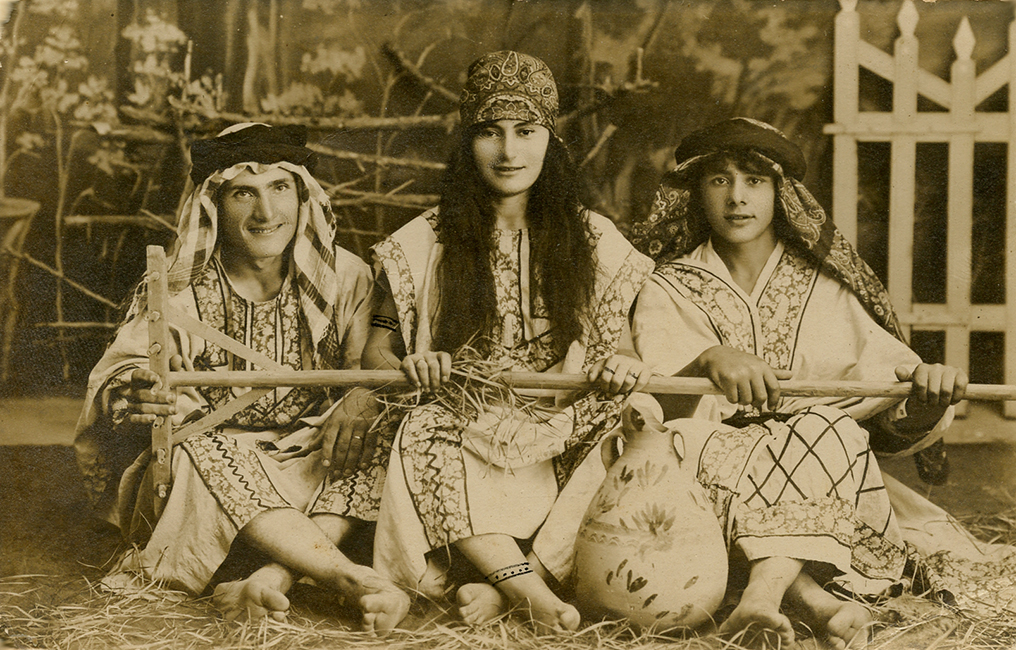 Unidentified Studio. Jews dressed in native Palestinian costumes for Purim, ca. 1920 (Malikian Collection)