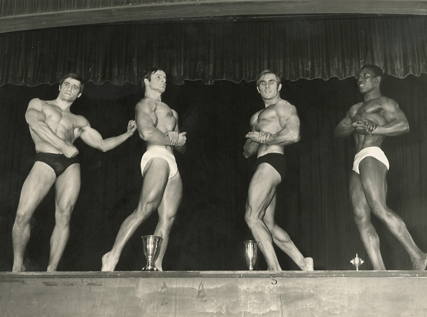 The 19th Competition of the Most Beautiful Athlete of Europe, 1967. Left to right, Serge Jacobs (Belgium), Janko Rudman (Sweden) , Raymond Everlet, (France), and Alain Babel (France) (Malikian Collection)